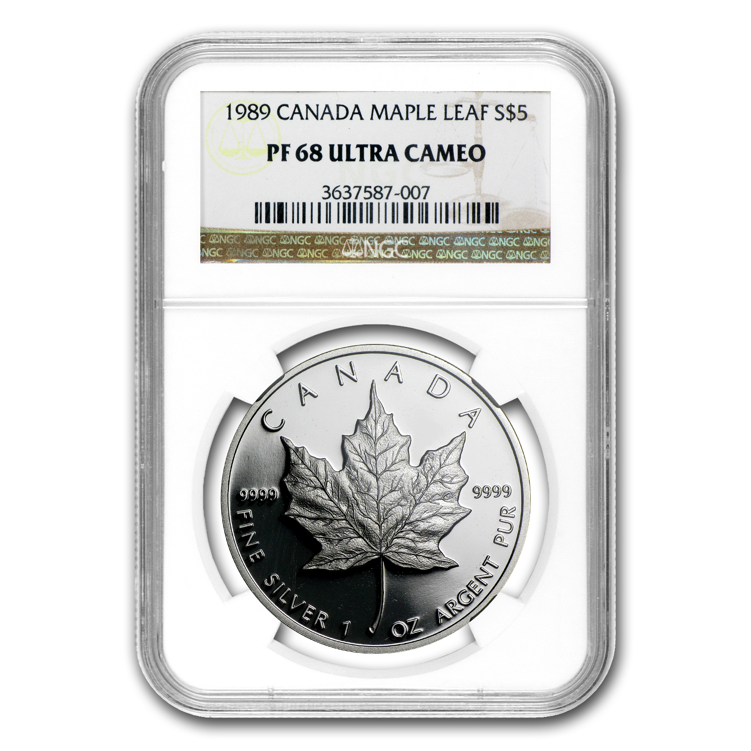 1989 Canada 1 oz Proof Silver Maple Leaf PF-68 NGC